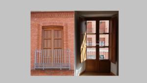 Ventana - balconera de madera de iroko con fraileros tipo librillo ( interior / exterior )