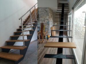 Escalera con estructura de hierro y pasos madera