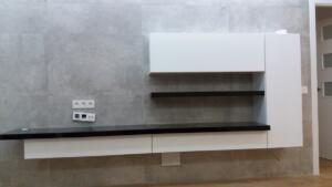 Mueble salón lacado blanco-negro