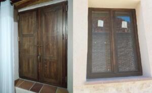 Ventana de madera 2 hojas color nogal con ventanillos ( interior/exterior)