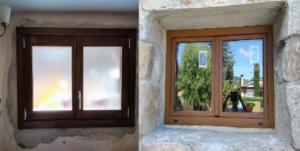 Ventana  madera y aluminio 2 hojas (interiorcolor nogal y exterior aluminio color embero )