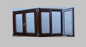 Ventana de madera y aluminio 2 hojas ( interior  color nogal y exterior aluminio blanco )