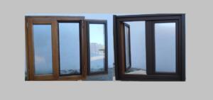 Ventana de madera y aluminio 2 hojas ( interior color miel y exterior aluminio color oxido)