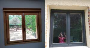 Ventana de madera y aluminio 2 hojas (interior color pino laminado y exterior aluminio gris oscuro)